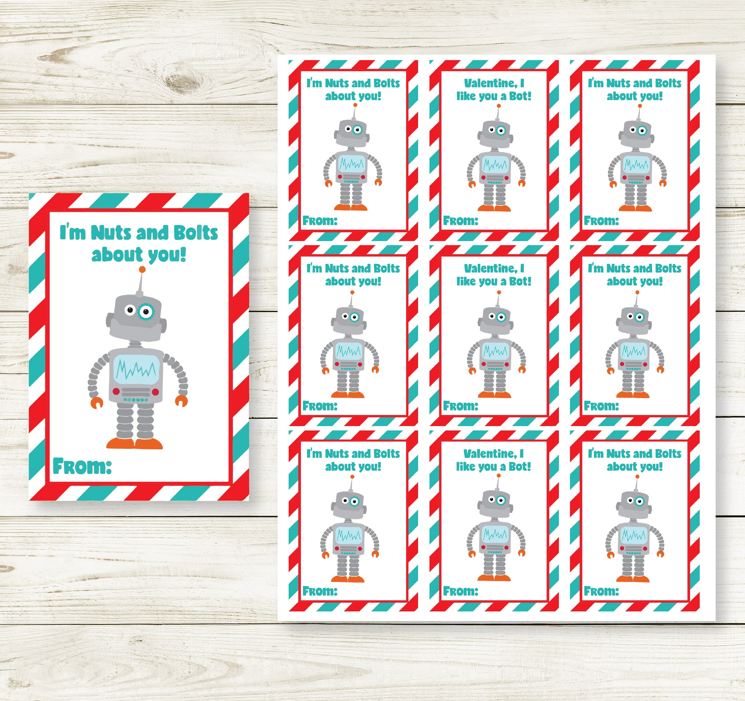 robot valentine's day printable cards  partyinapinch