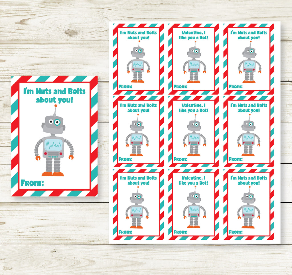 ROBOT VALENTINE'S DAY PRINTABLE CARDS