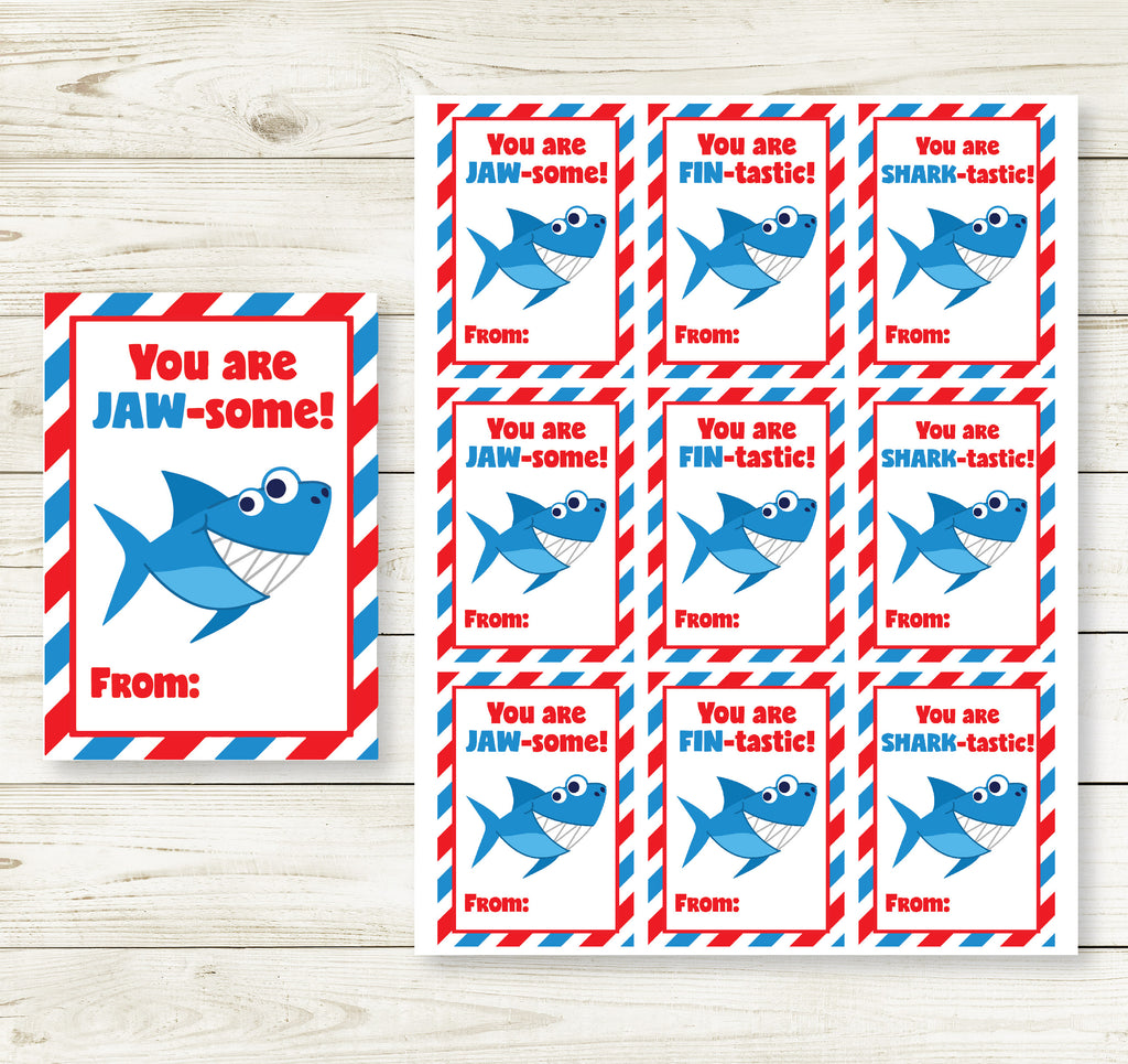 SHARK VALENTINE'S DAY PRINTABLE CARDS