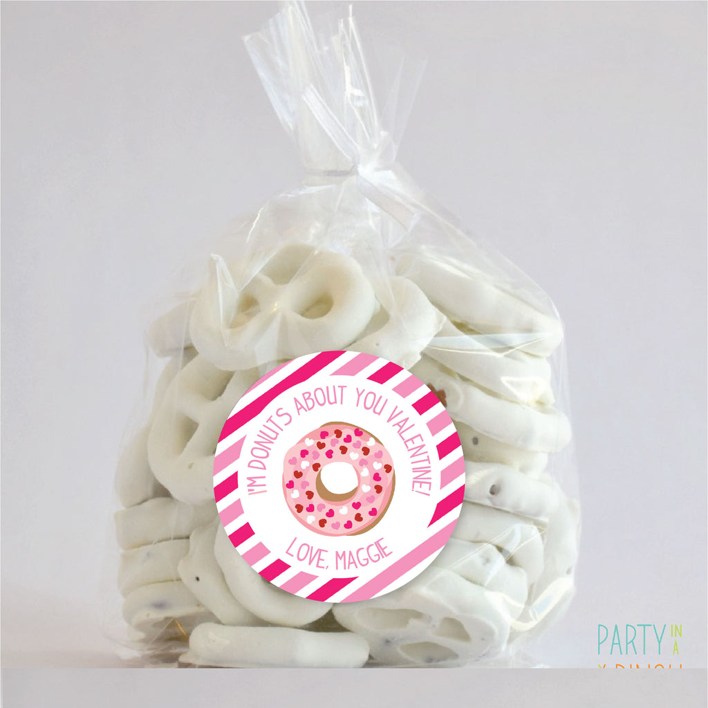 Valentine's Day Donut Favor Stickers 2.5"