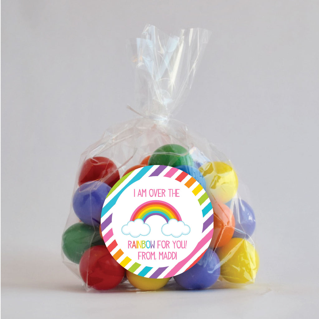 Valentine's Day Rainbow Favor Stickers 2.5"