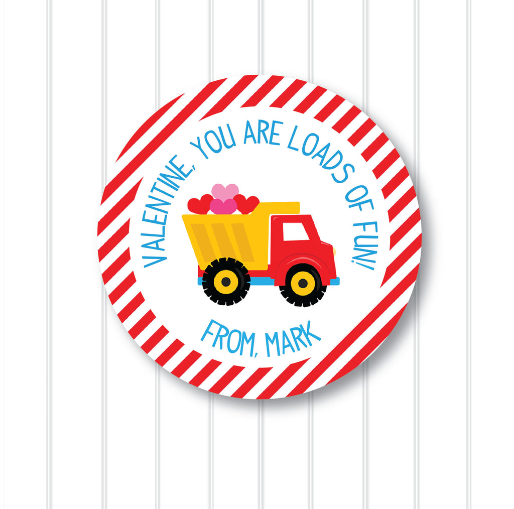 Valentine's Day Dump Truck Favor Stickers 2.5"