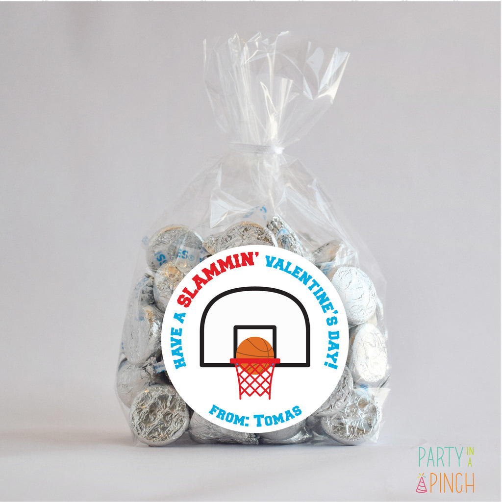 Basketball Valentine's Day Favor Stickers 2.5"