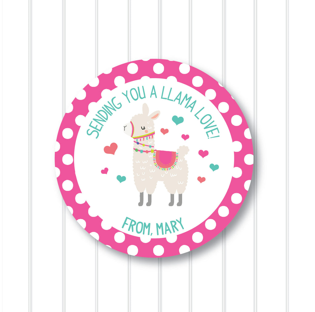 Valentine's Day Llama Love Favor Stickers 2.5"