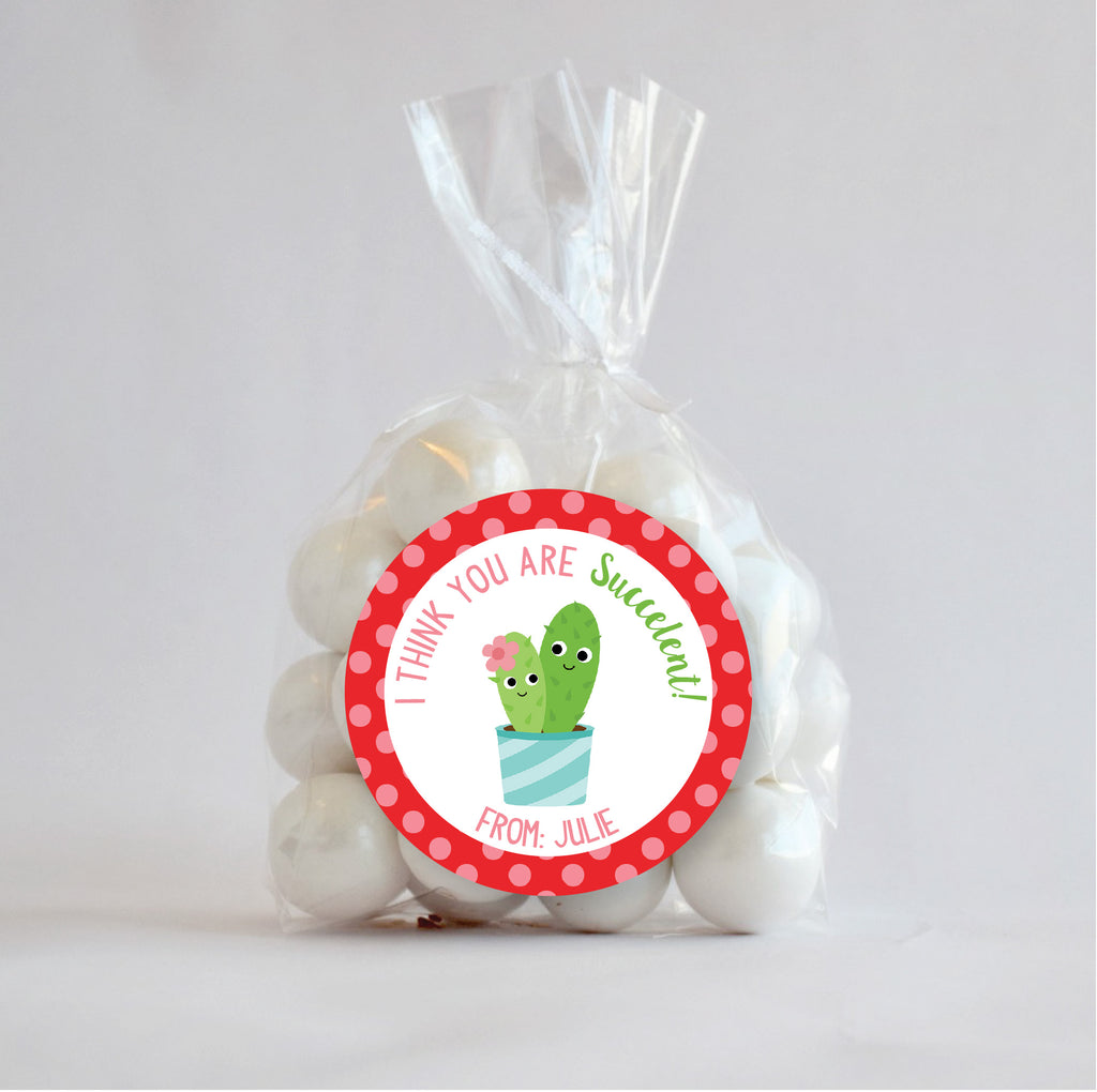 Cactus Valentine's Day Favor Stickers 2.5"