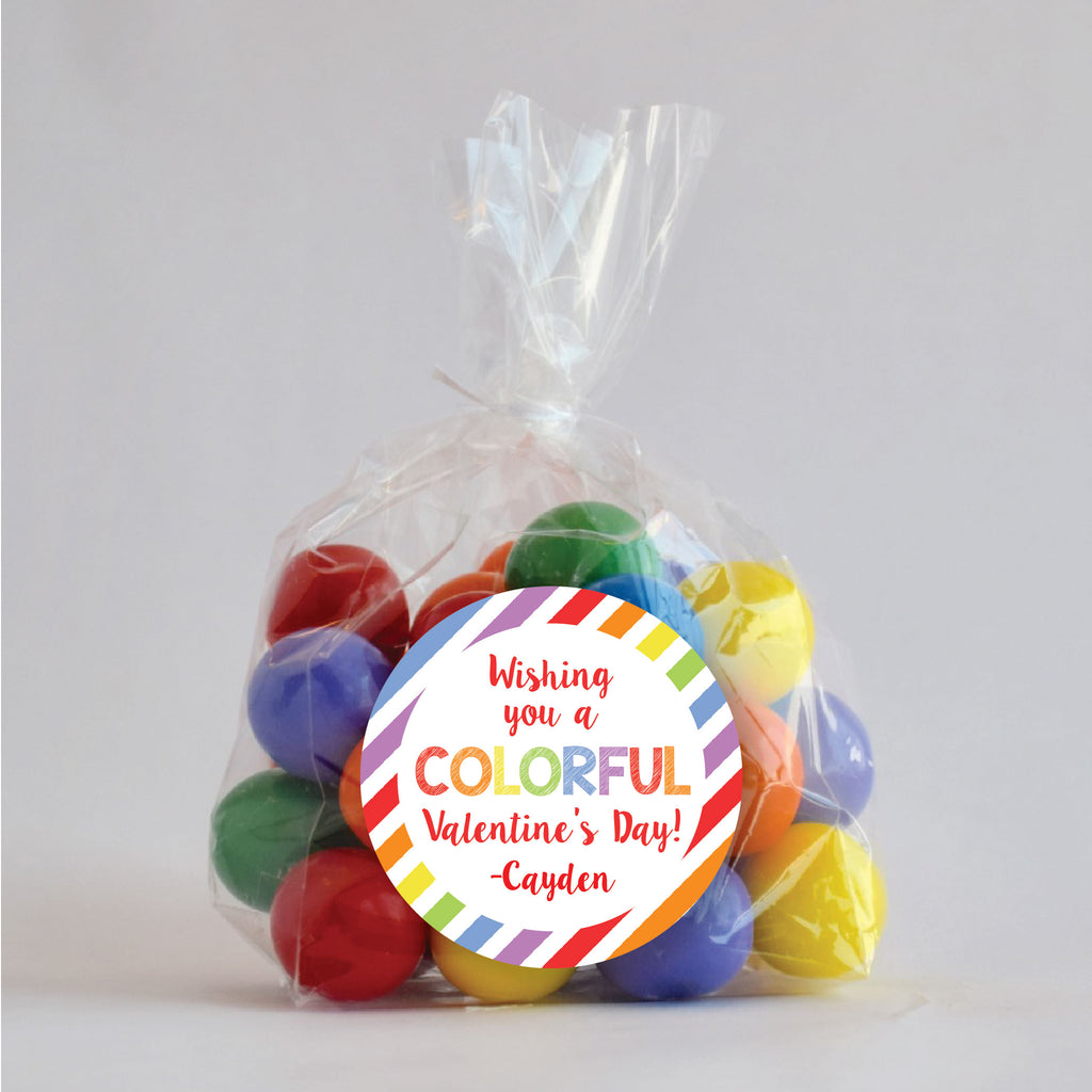 Have a Colorful Valentine's Day Favor Stickers 2.5"