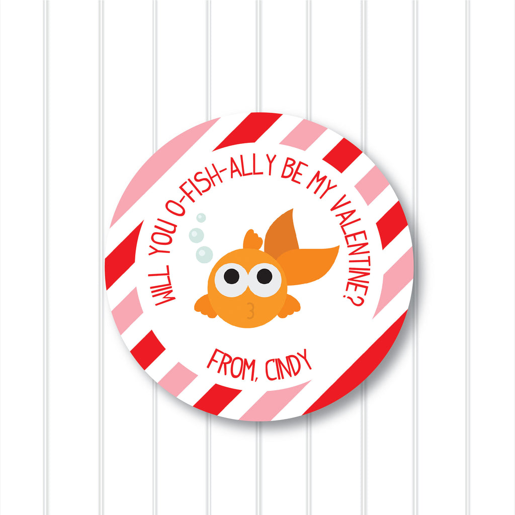 Valentine's Day Goldfish Favor Stickers 2.5"