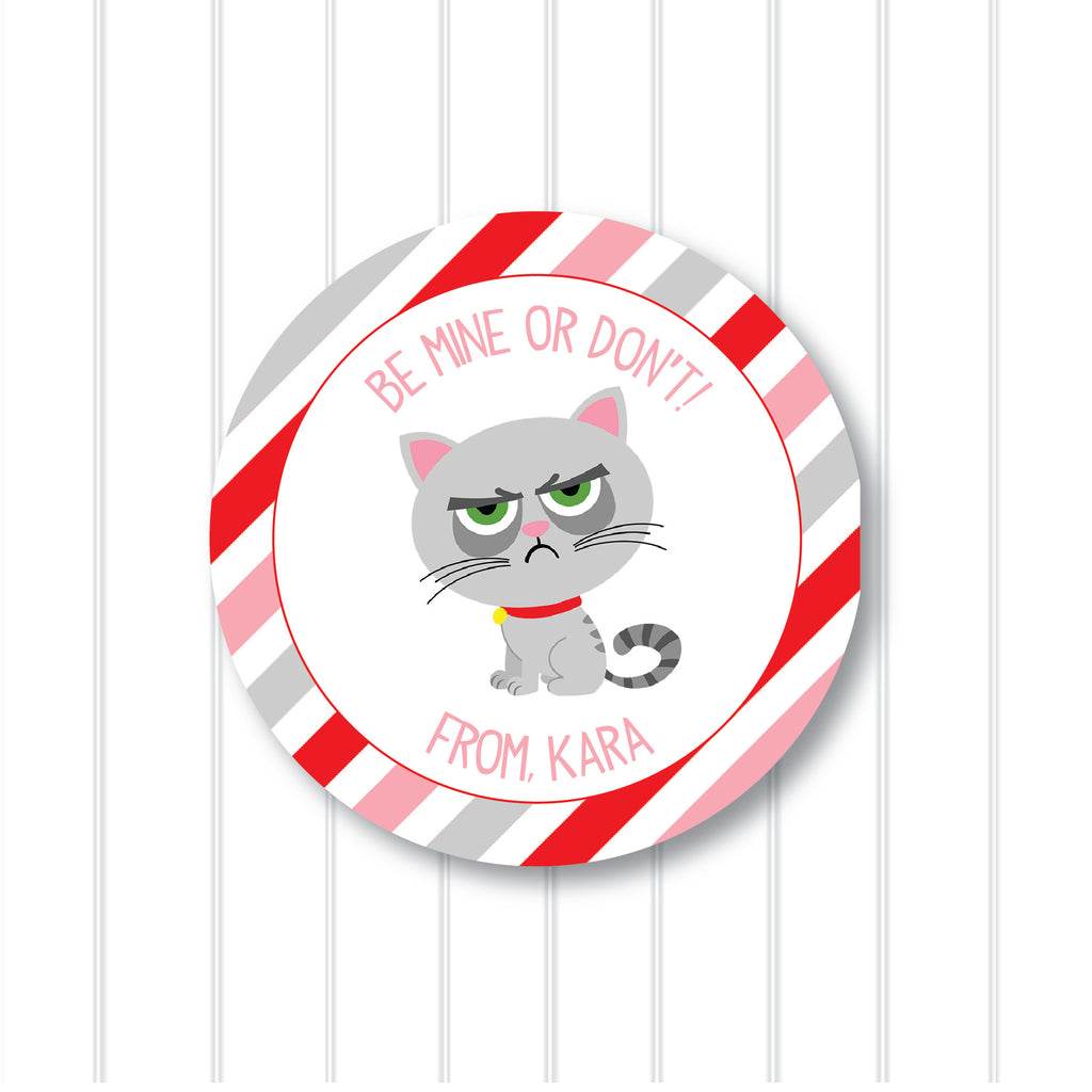 Valentine's Day Grumpy Cat  Favor Stickers 2.5"