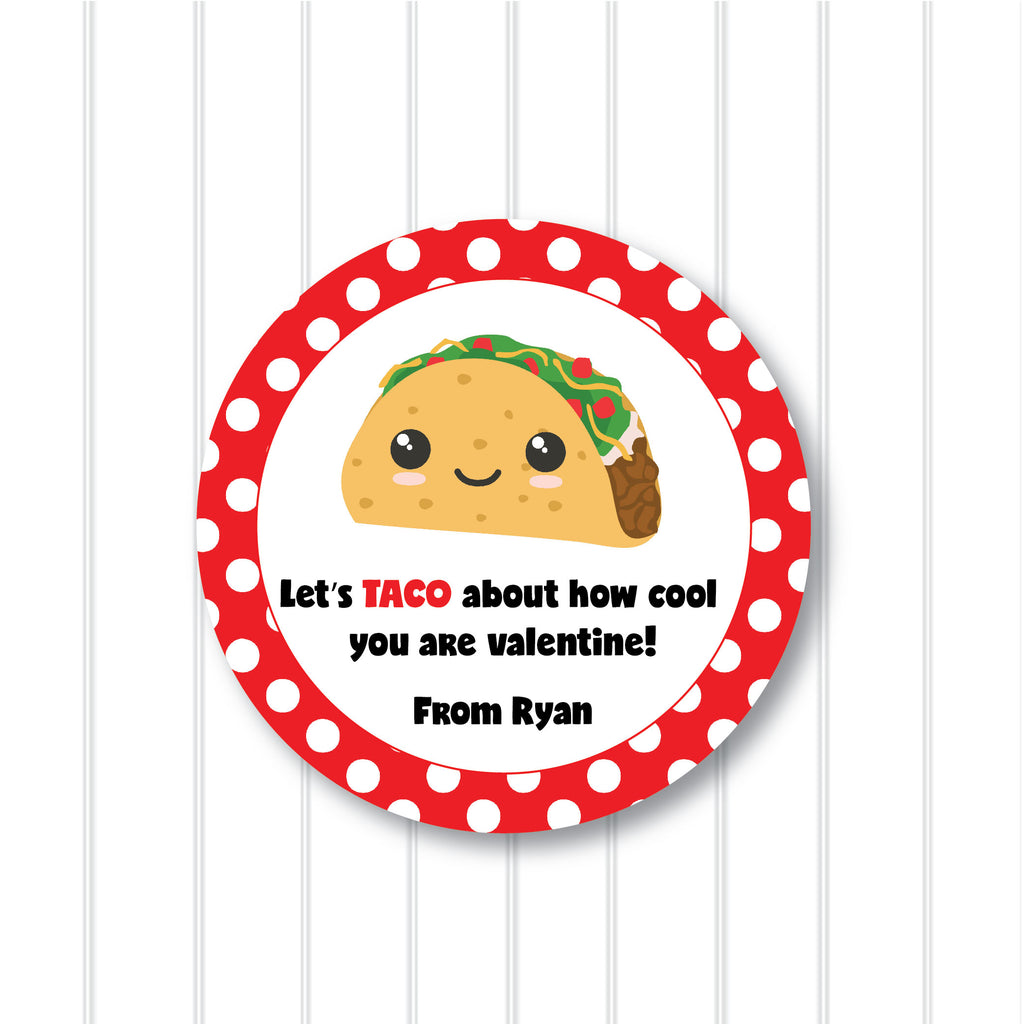 Valentine's Day Taco Favor Stickers 2.5"