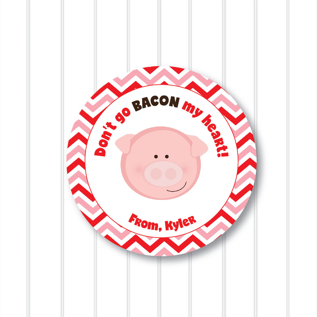 Valentine's Day Bacon Favor Stickers 2.5"
