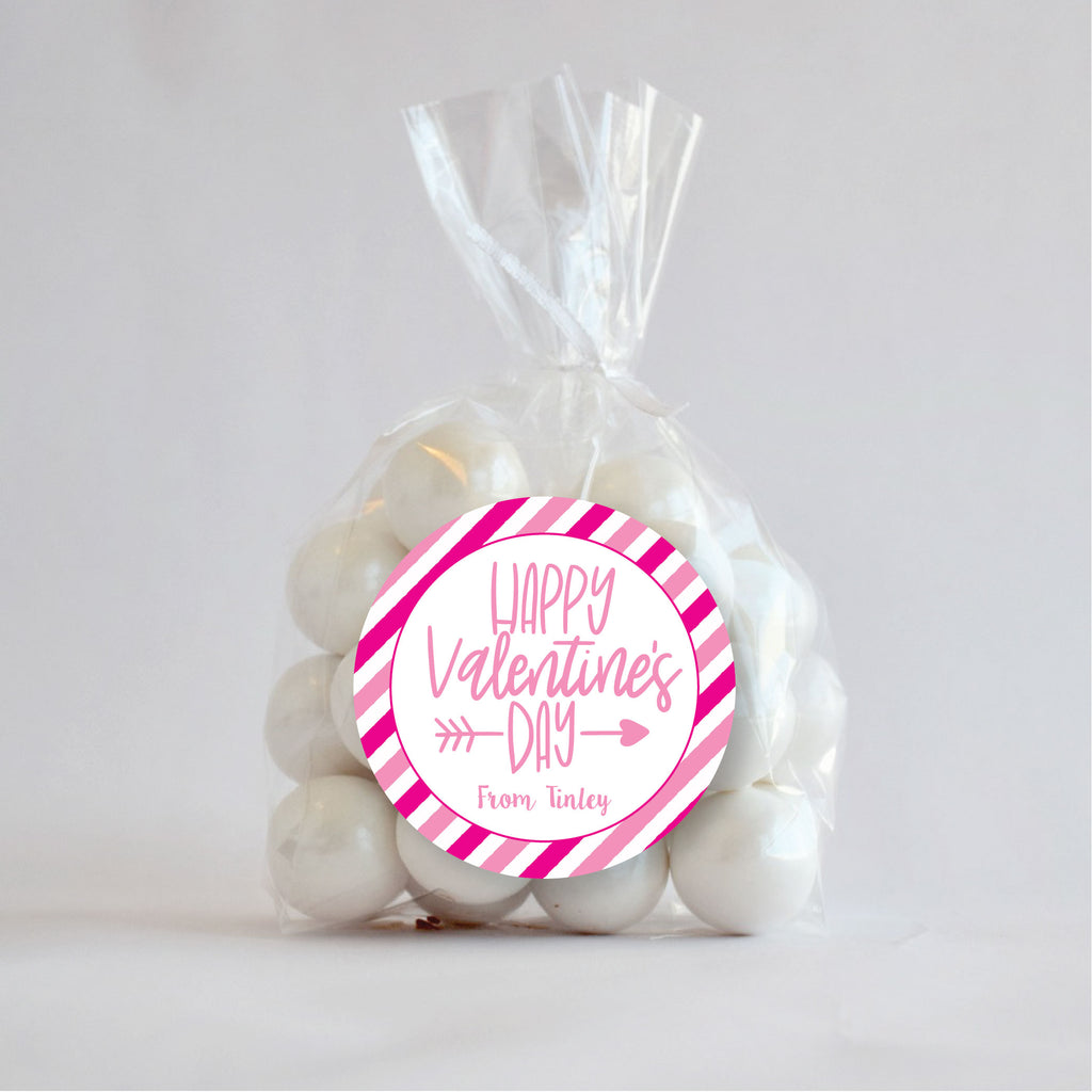 Happy Valentine's Day Favor Stickers 2.5"