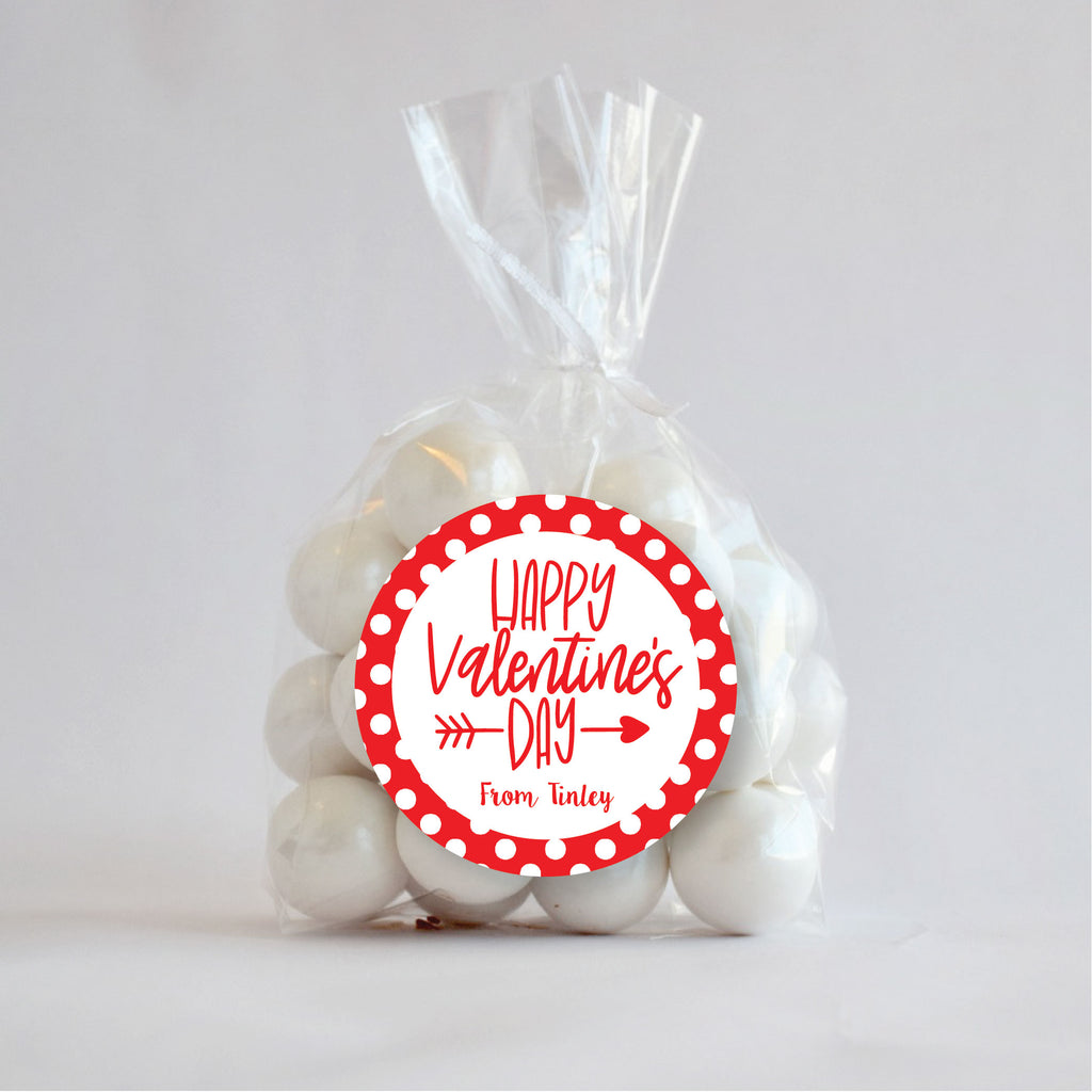 Happy Valentine's Day Red Favor Stickers 2.5"