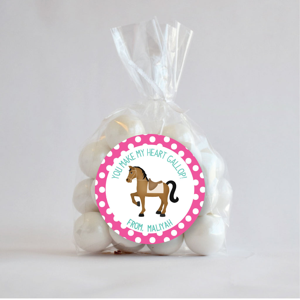 Horse Valentine's Day Favor Sticker Set 2.5"