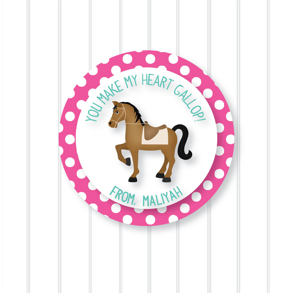 Horse Valentine's Day Favor Stickers 2.5"