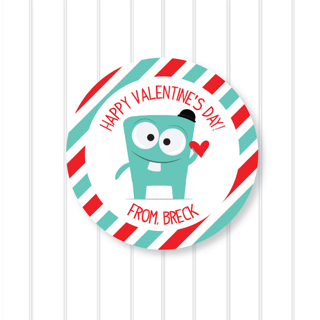 Valentine's Day Monster Favor Stickers 2.5"