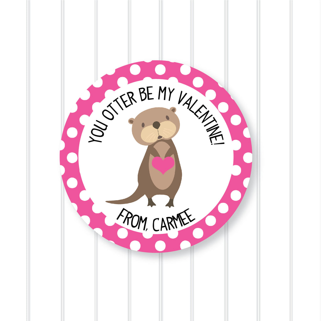 """Otter Be"" Valentine's Day Favor Stickers 2.5""