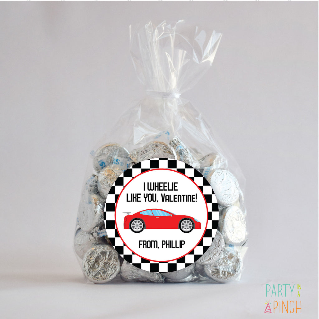 Race Car Valentine's Day Favor Stickers 2.5"