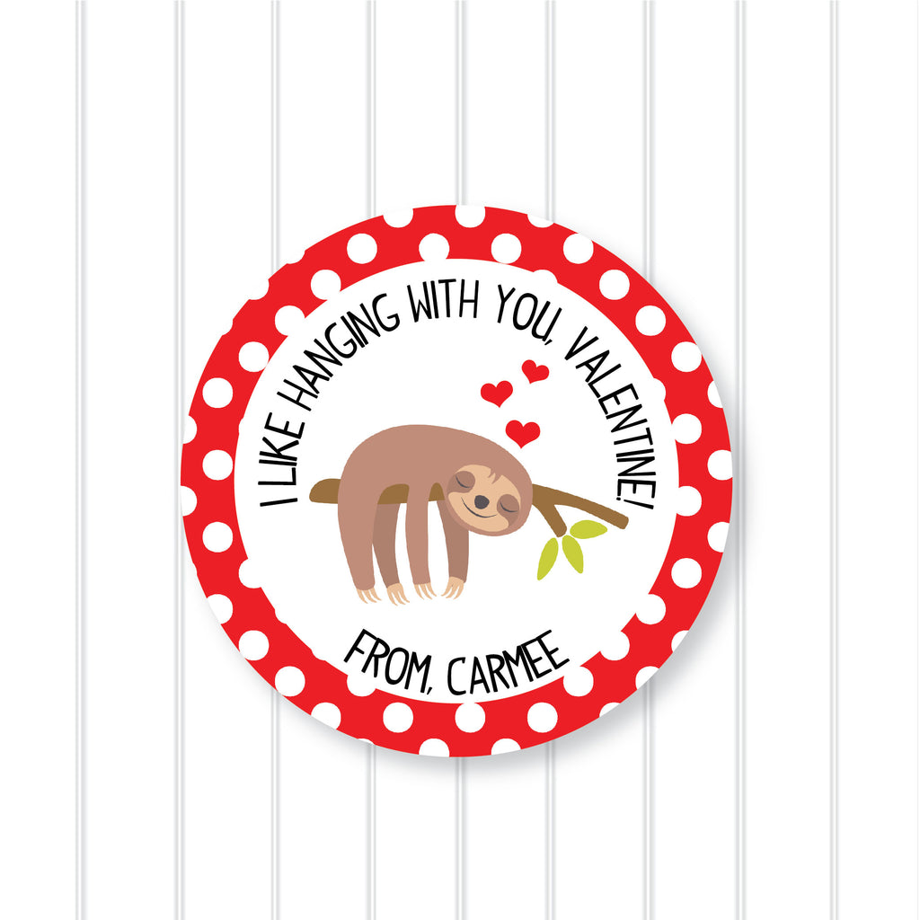 """Hanging Around"" Sloth Valentine's Day Favor Stickers 2.5""