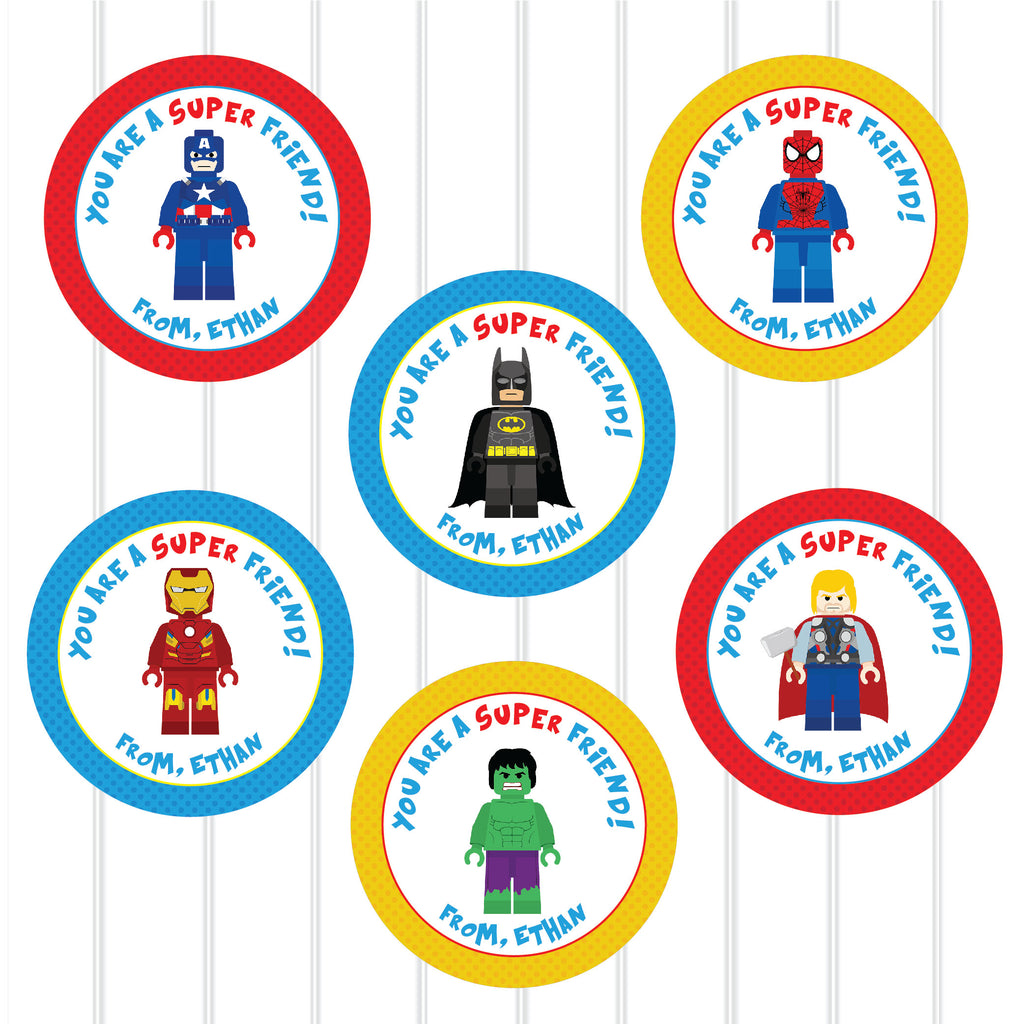 Valentine's Day Superhero Favor Stickers 2.5"