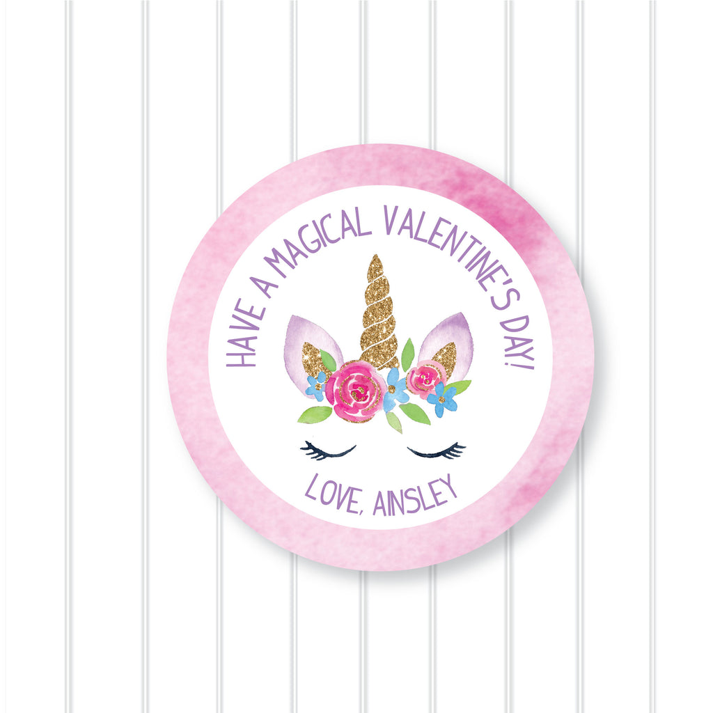 Valentine's Day Unicorn Favor Stickers 2.5"