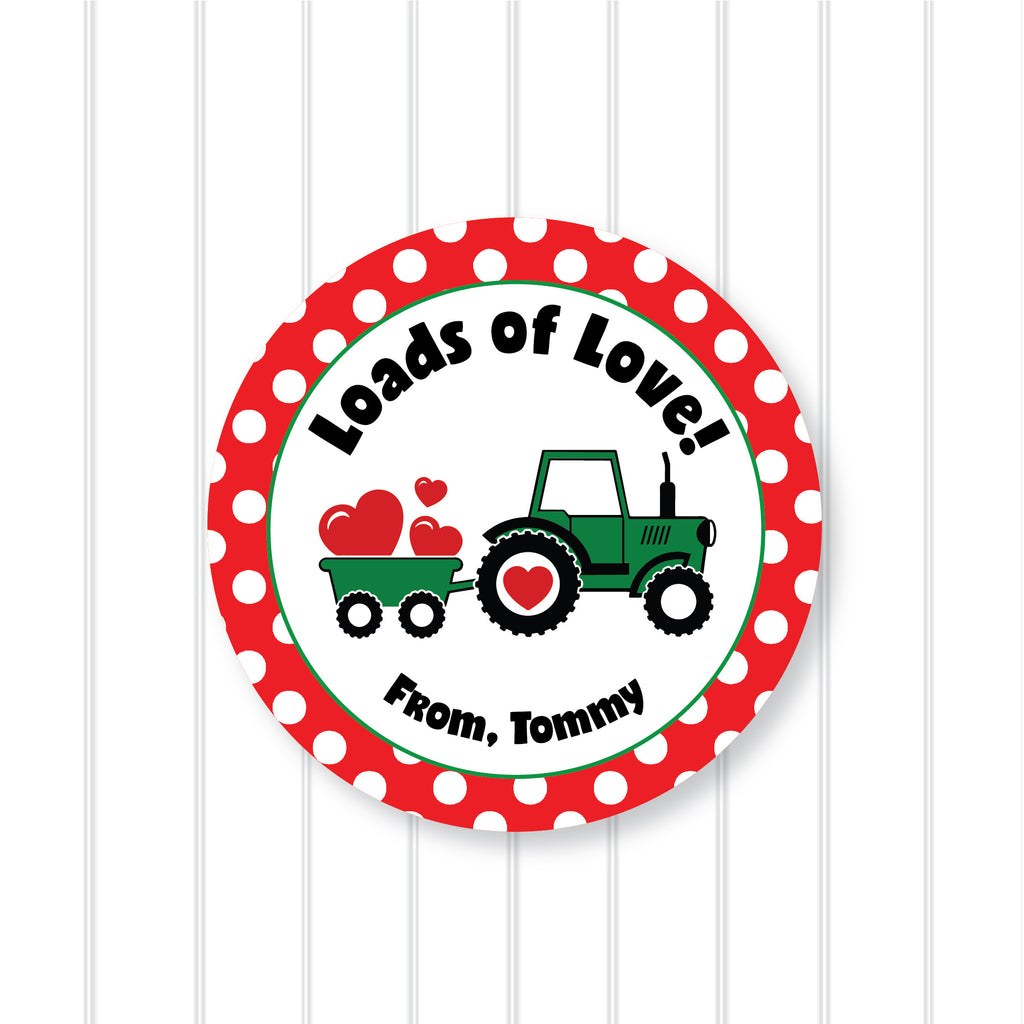 "Tractor ""Loads of Love"" Valentine's Day Favor Sticker Set 2.5""