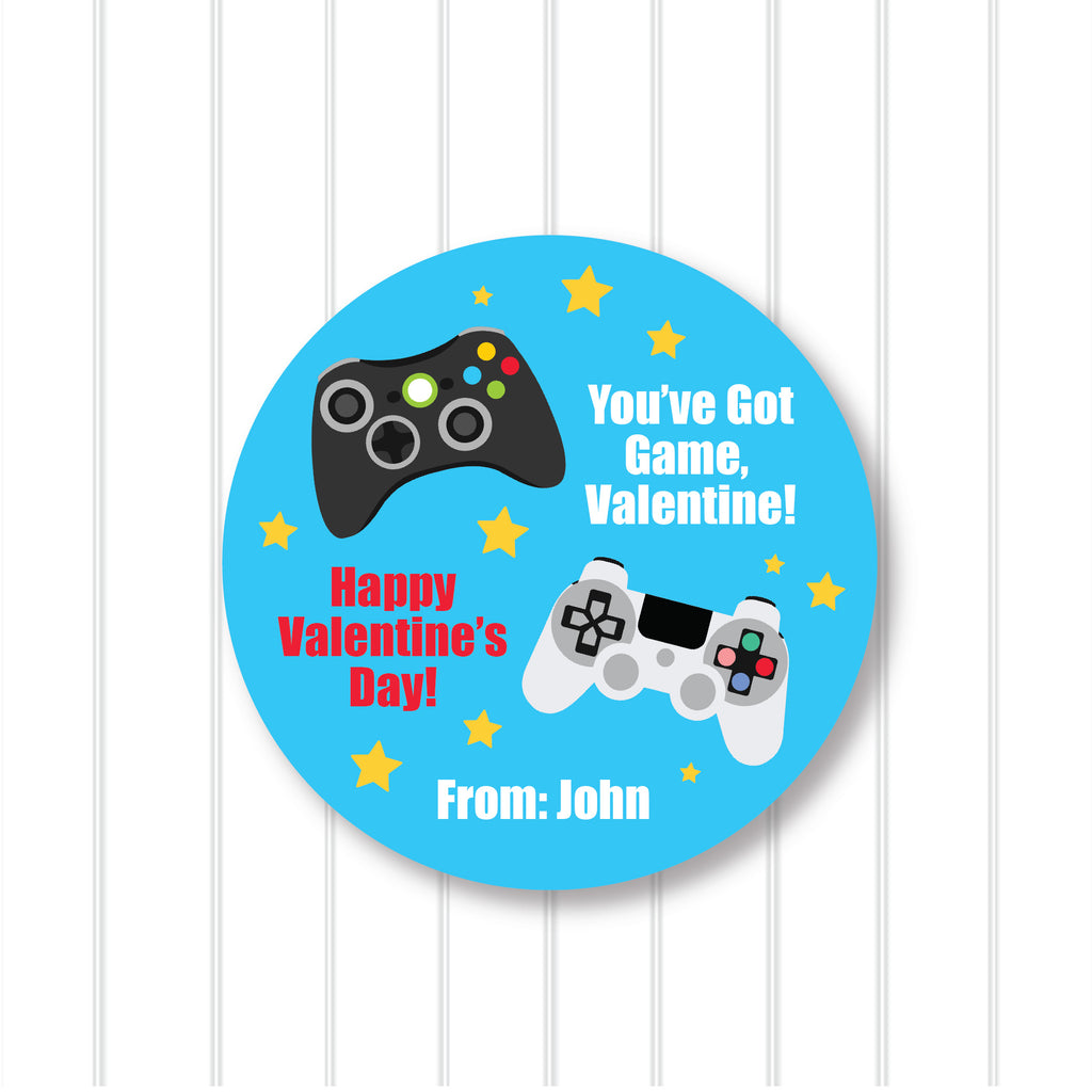 Video Game Valentine's Day Favor Stickers 2.5"