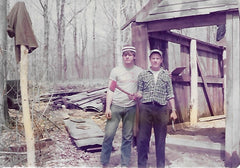 Pat and Robert McDivitt building the new sugarhouse