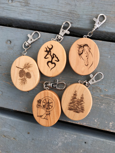 Custom Engraved Wooden Tape Measure Keychain