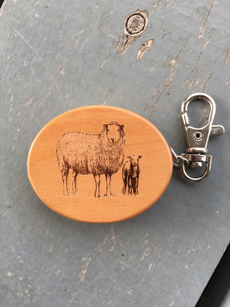 Wooden Tape Measure Engraved Keychain