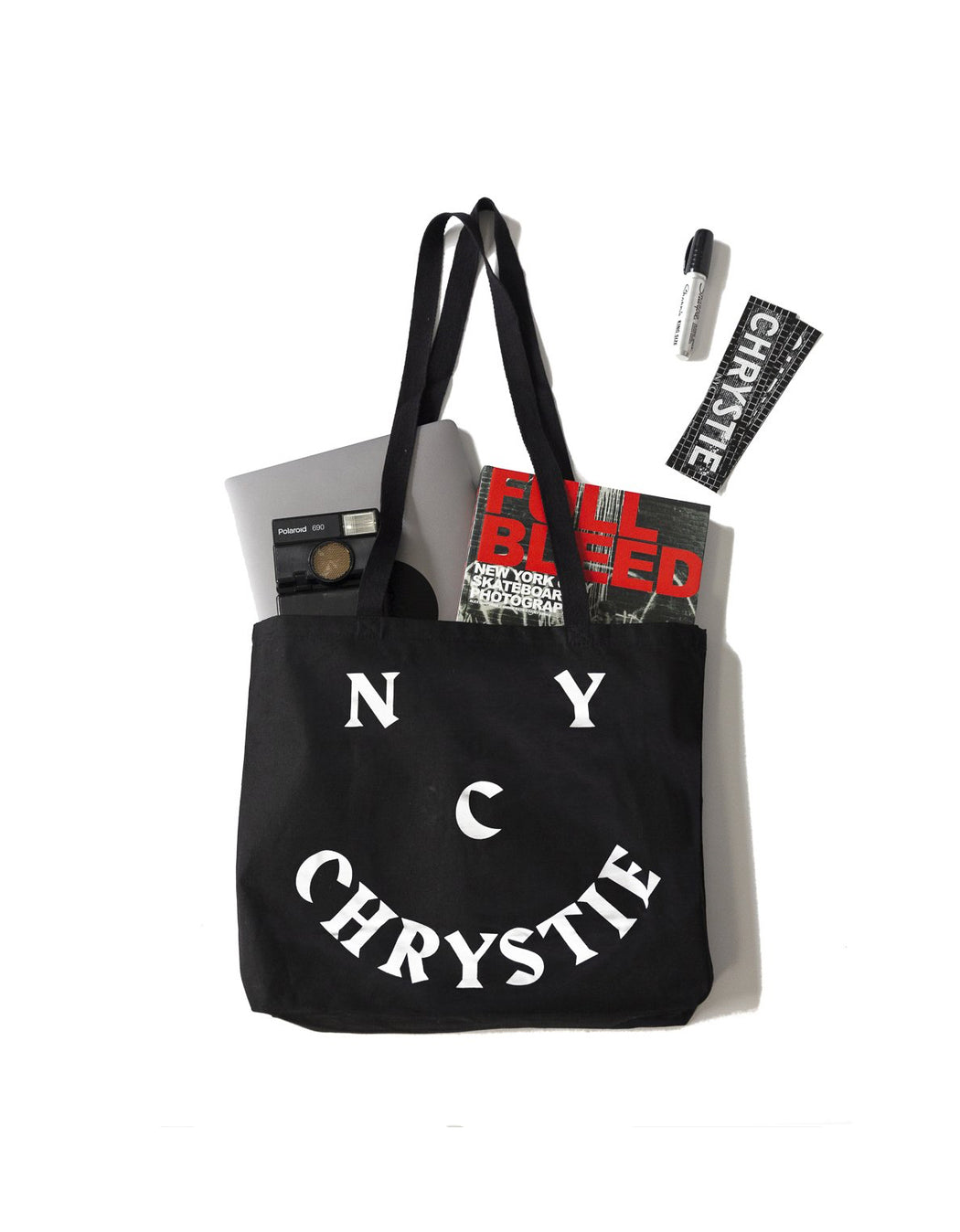 Chrystie Smile Logo Tote Black