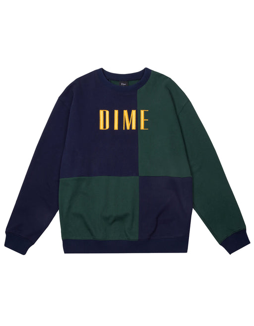 Dime Block Terry Crewneck Navy Green