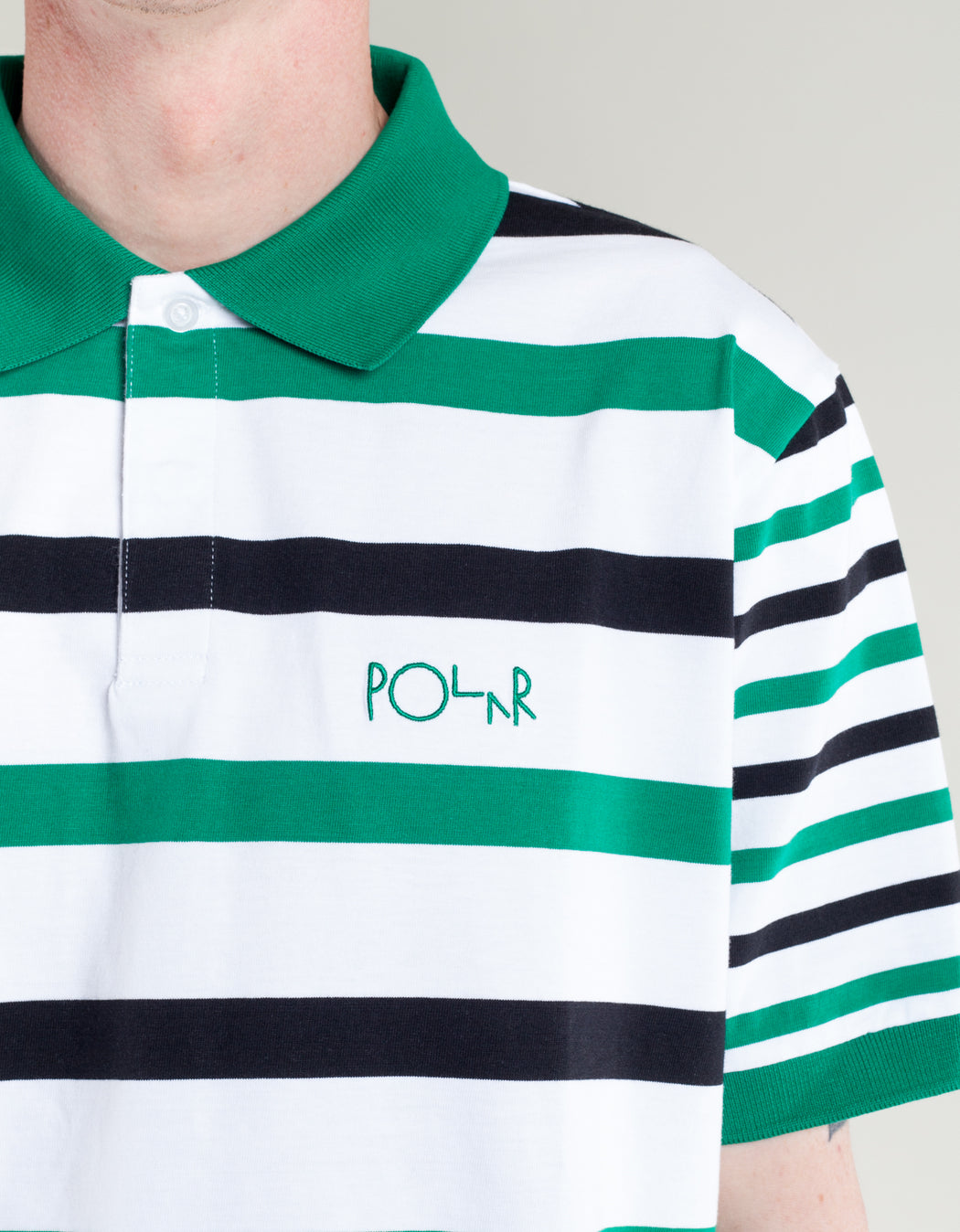 Polar Halls Rugby Polo White Green Black