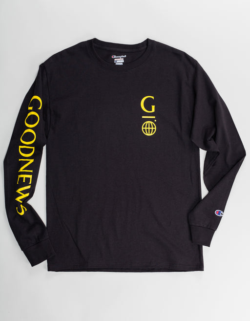Goodnews Champion LS Globe Logo Tee Black Yellow