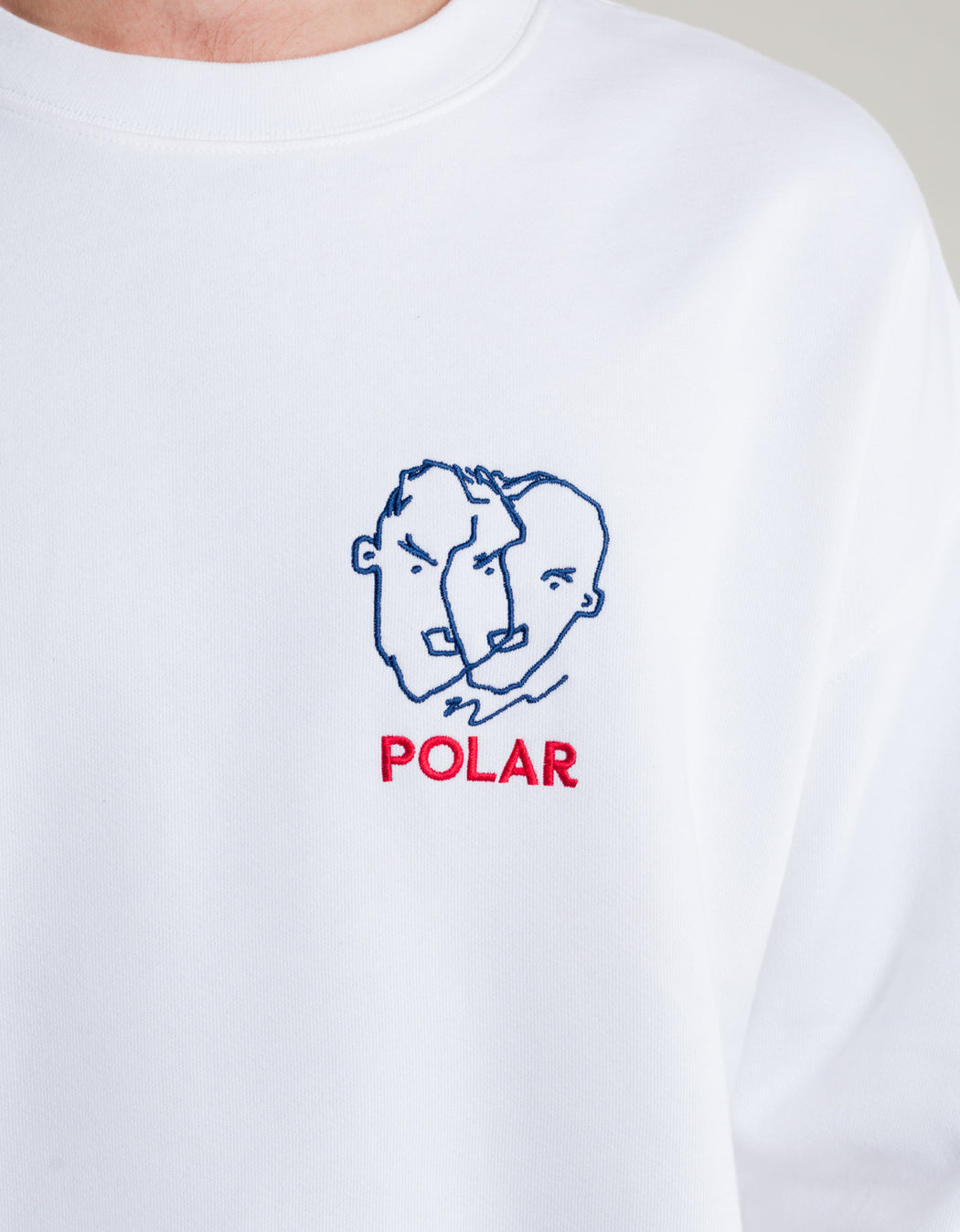 Polar Two Sided Crew Fleece White