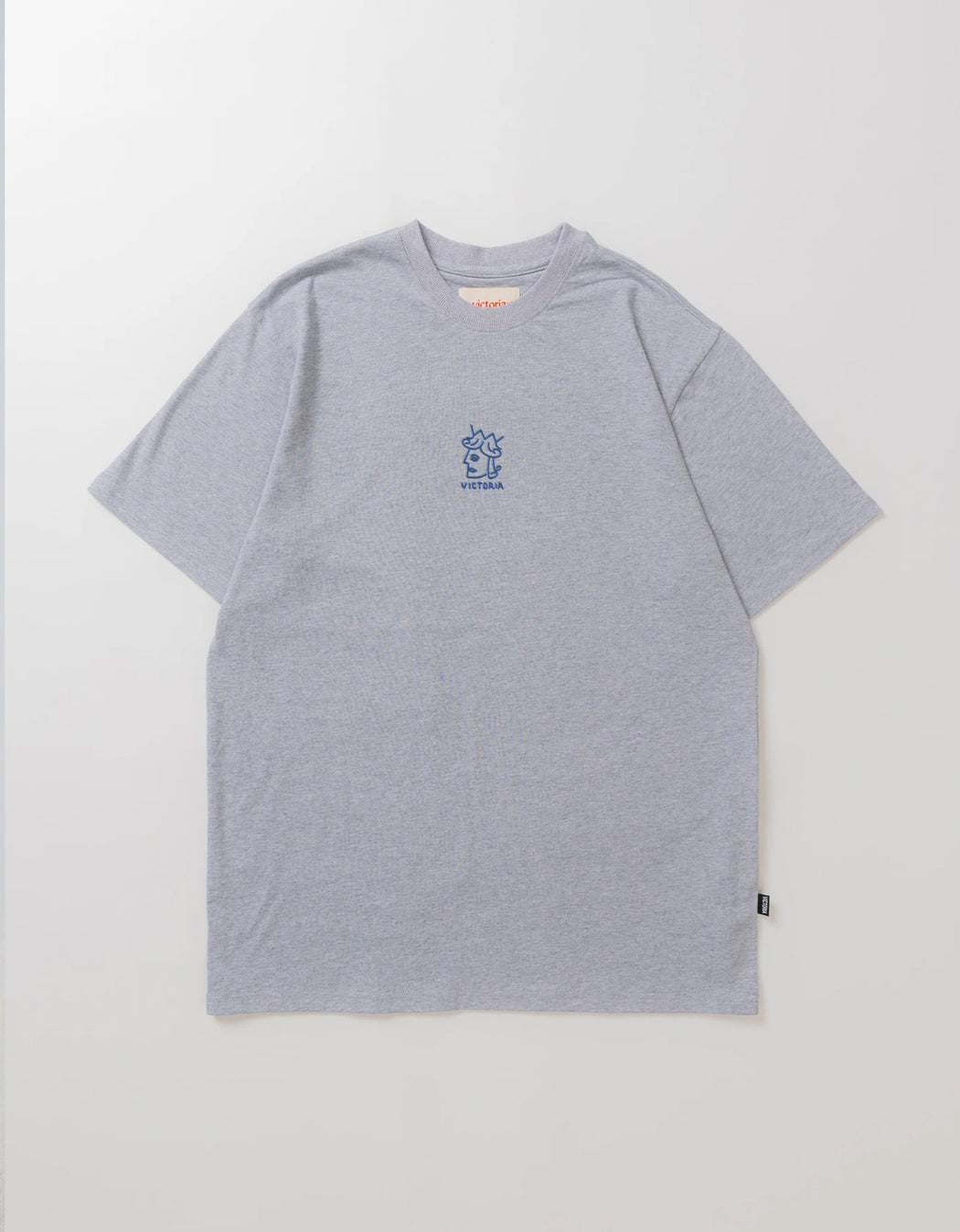 Victoria Offset Queen Head Tee, Heather Grey