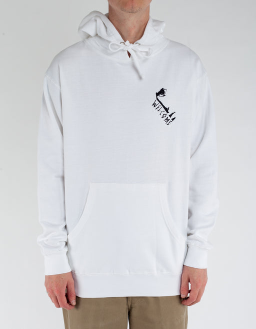 Welcome Hooded Fleece Faces Mid Weight White