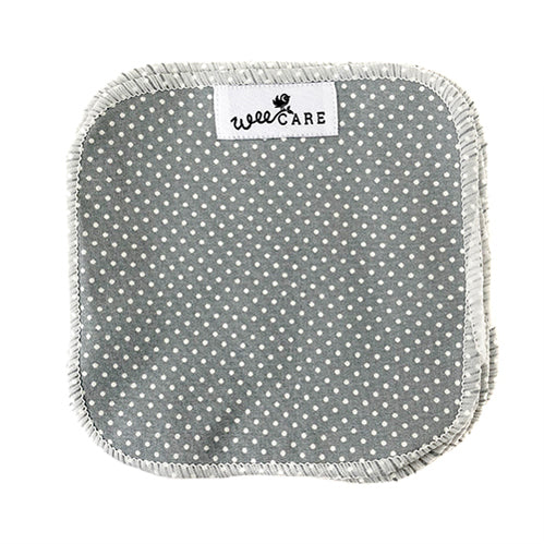 WeeCare Dots Dusty Blue Vaskeklude - 10 stk.