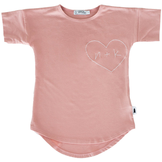 T-Dress (N+K Heart) Blush Rose - North Kinder