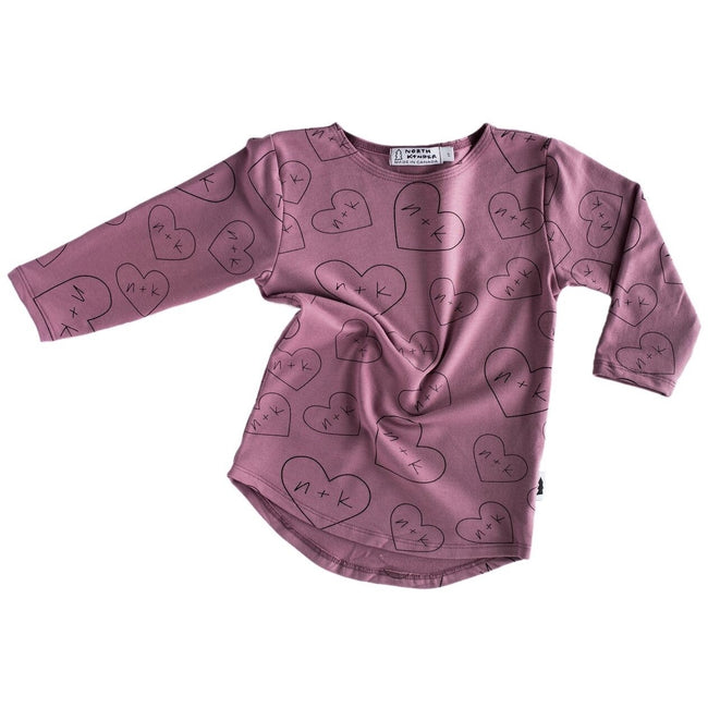 Long Sleeve Shirt (Mauve hearts n+k) - North Kinder