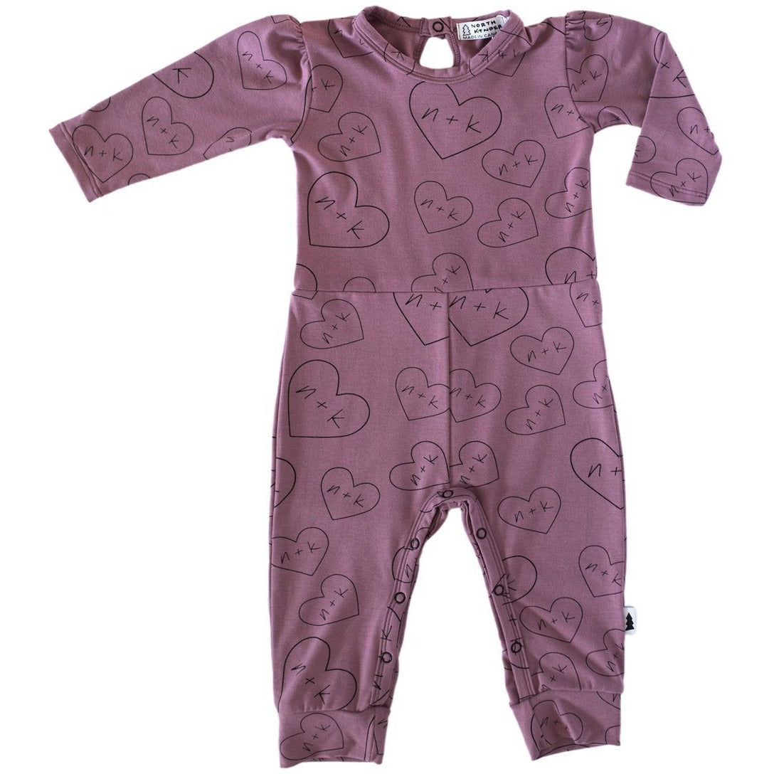 Gathered Romper (Mauve Hearts n+k) - by North Kinder
