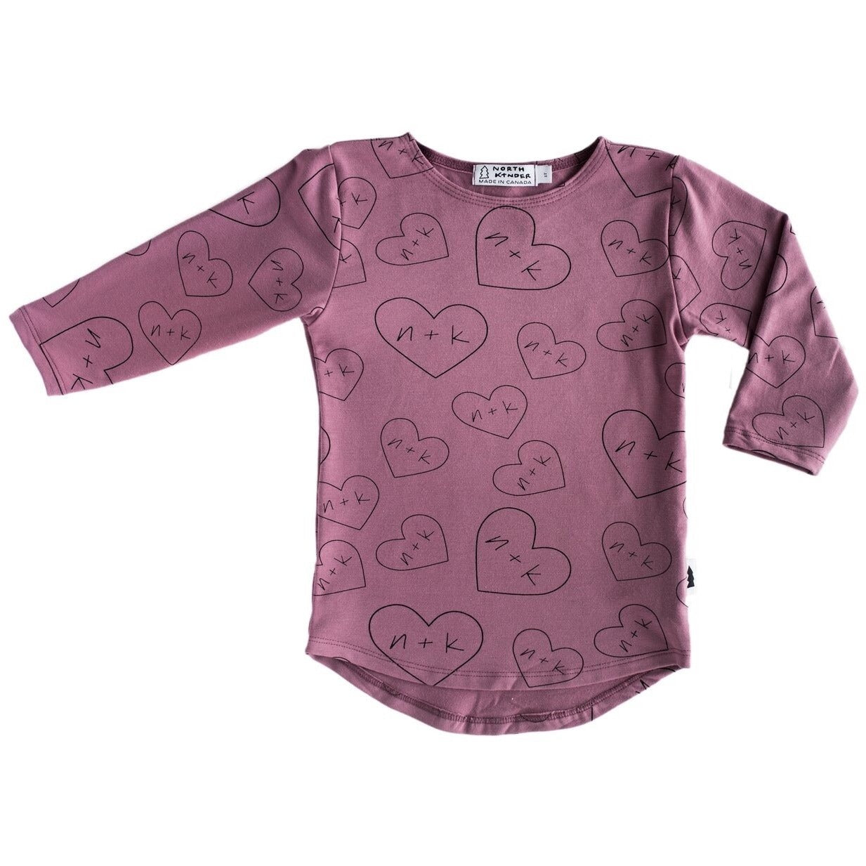 Long Sleeve Shirt (Mauve hearts n+k) - by North Kinder