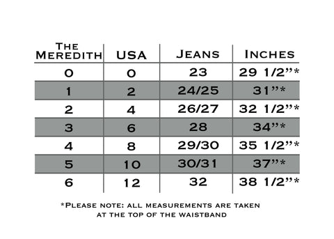 MEREDITH style Pocketed Belt Sizing
