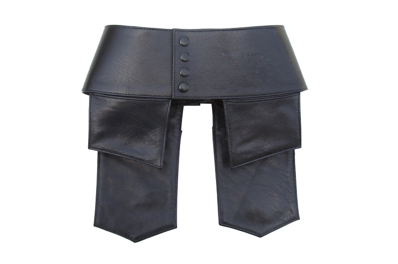 Jacqui Corset Leather Pockets in Noir