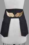 Jacqui Denim Pocketed Belt in Black with GOLD PAINTED WINGS