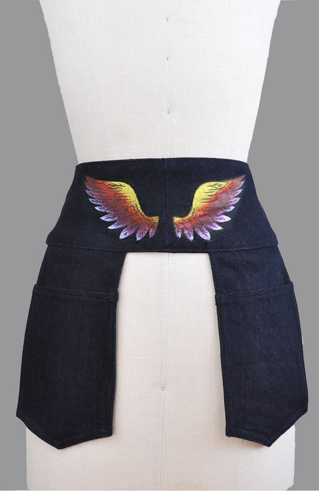 Jacqui Denim Pocketed Belt in Indigo with PAINTED RAINBOW WINGS