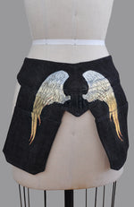 Meredith Denim Pocketed Belt in Black with GOLD/WHITE PAINTED WINGS
