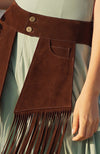 Meredith Coachella Pocketed Belt in Chocolate