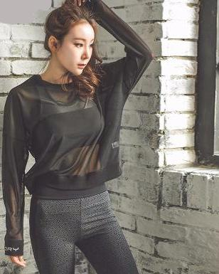 Long Sleeve Black Mesh Yoga Top