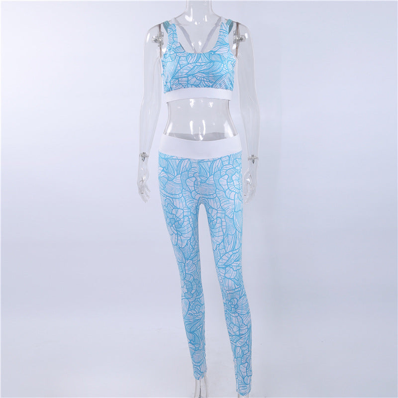 Retro Digital Printed Sports yoga Outfit