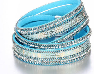 Fashion Multiple Layers Crystal Leather Bracelets For Women -